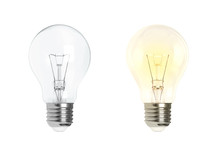 Glowing And Turned Off Electric Light Bulb Isolated On White