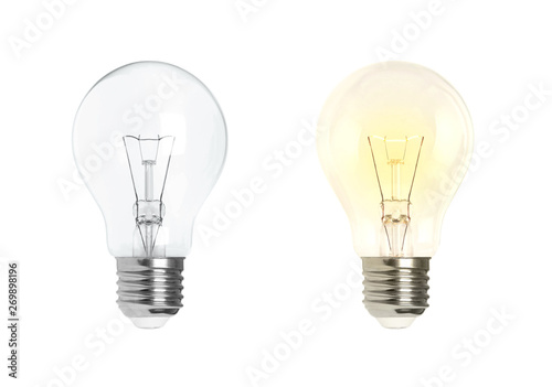 Fotografia Glowing and turned off electric light bulb isolated on white