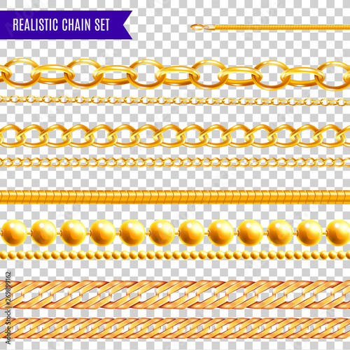 Photo Chains Realisic Transparent Set