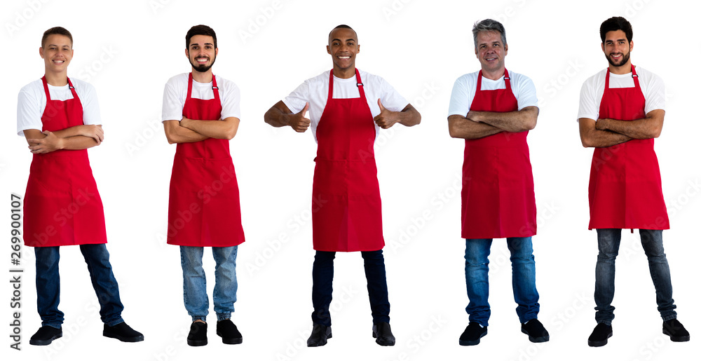 Fototapeta Group of 5 caucasian and african and latin american waiters