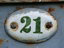 Old House Door Number Plate Twenty One. House Number Twenty One