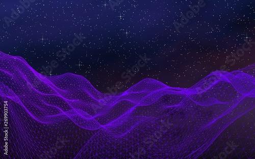 Poster Violet Abstract ultraviolet landscape on a dark background. Purple cyberspace grid. hi tech network. Outer space. Violet starry outer space texture. 3D illustration