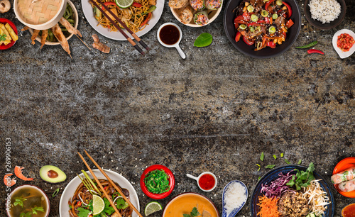In de dag Tuin Asian food background with various ingredients on rustic stone background , top view. Vietnam and Thai cuisine.
