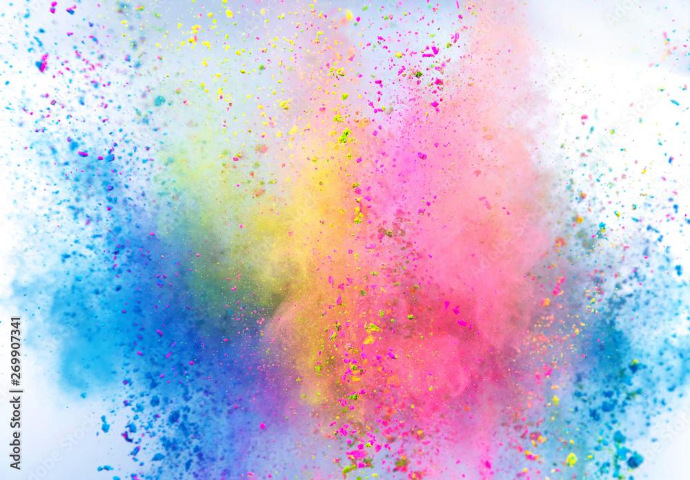 Fototapety, obrazy: Colored powder explosion on white background. Freeze motion.