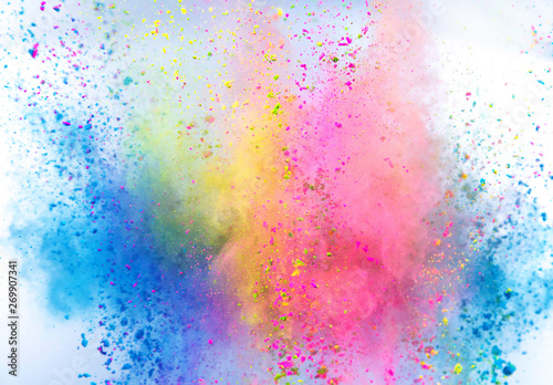 Fototapeta Colored powder explosion on white background. Freeze motion. obraz