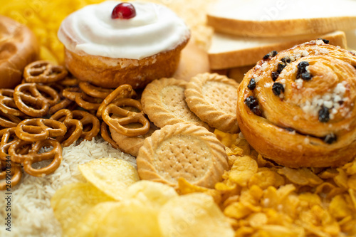 Cuadros en Lienzo Full Frame Shot Of Foods Containing Unhealthy Or Bad Carbohydrates