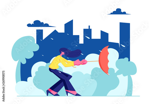 Photo  Woman City Dweller Holding Umbrella Turned Inside Out in Strong Wind with Rain on Urban View Landscape Background