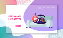 Woman Sitting On Sofa At Home With Many Cats Around. Love To Animals, Female Character Spend Time With Pets, Leisure, Relations Website Landing Page, Web Page. Cartoon Flat Vector Illustration, Banner