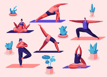 Male And Female Characters Sport Activities Set. People Doing Sports, Yoga Exercise, Fitness, Workout In Different Poses, Stretching, Healthy Lifestyle, Leisure. Cartoon Flat Vector Illustration