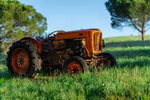 Old Tractor In A Field, Tuscany, Italy, Agriculture