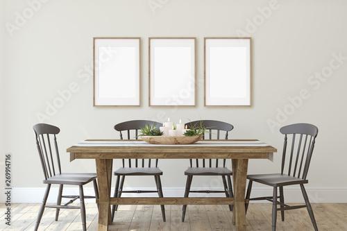 Fotografía  Modern farmhouse dining-room. 3d render.