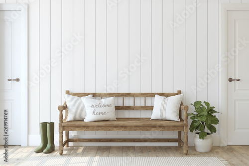 Fotografiet  Modern farmhouse entryway. 3d rendering.
