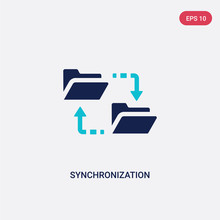 Two Color Synchronization Vector Icon From Big Data Concept. Isolated Blue Synchronization Vector Sign Symbol Can Be Use For Web, Mobile And Logo. Eps 10