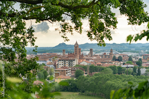 The town of Alba and its cathedral, Piemonte, Italy Canvas Print