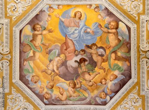 Valokuva  OSSUCCIO, ITALY - MAY 8, 2015: The baroque fresco of Assumption of Virgin Mary in church Sacro Monte della Beata Vergine del Soccorso by Salvatore Pozzi di Puria  (1595 – 1681)