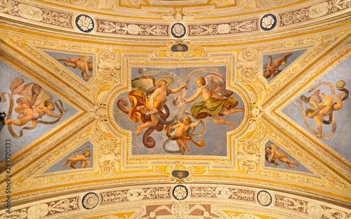 Valokuva  OSSUCCIO, ITALY - MAY 8, 2015: The baroque fresco of angels with the mariological inscriptions in church Sacro Monte della Beata Vergine del Soccorso by Salvatore Pozzi di Puria  (1595 – 1681)