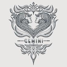Gemini Zodiac Vintage Vector I...