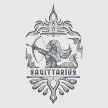Sagittarius Zodiac Vintage Vector Illustration