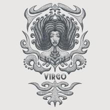 Virgo Zodiac Vintage Vector Illustration