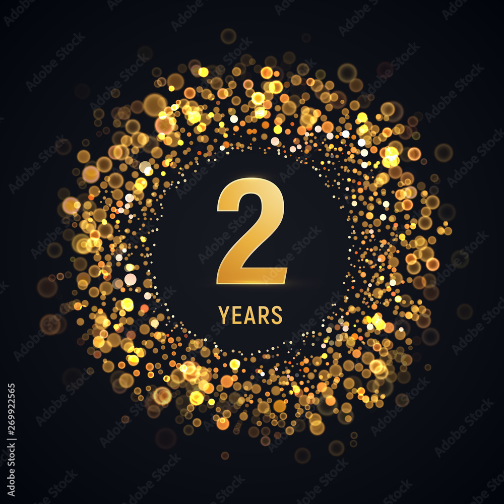 Fototapeta 2 years anniversary isolated vector design element. Two birthday logo with blurred light effect on dark background