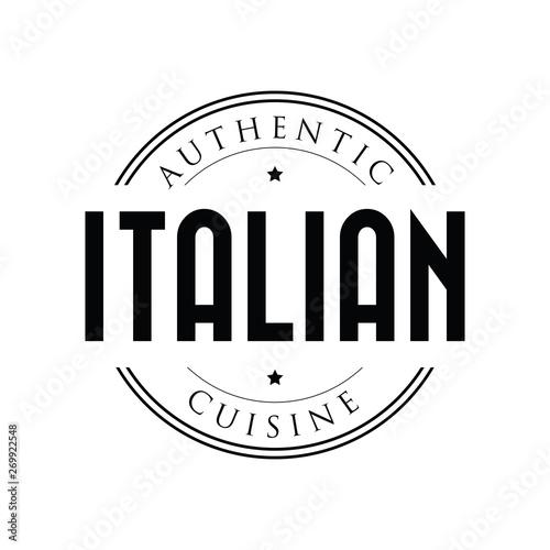 Obraz na płótnie Authentic Italian Cuisine stamp vintage