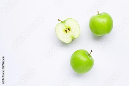 Green apples on white Fototapeta