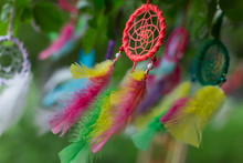 Colorful Dreamcatcher On Green...
