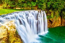 Cascading Shifen Waterfall In Pingxi, New Taipei City, Taiwan