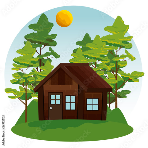 Valokuva nature landscape with cabin and trees with sun