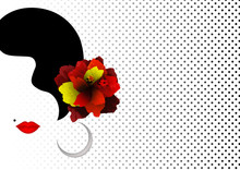 Beautiful Spanish Or Latin Woman Silhouette Whit Red Hibiscus Flowers And Sexy Red Lips. Beauty Logo Template. Flamenco Dancer Girl Portrait. Vector Company Name, Isolated Or Polka Dots Background