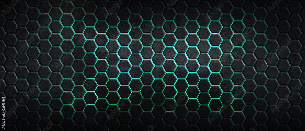 Fototapety, obrazy: dark hexagon background and green light