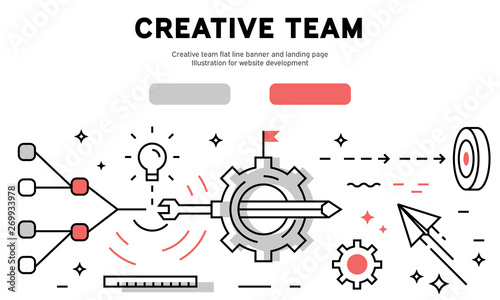 Photo  Creative team flat line banner and landing page
