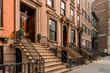 canvas print picture - Brownstone facades & row houses  in an iconic neighborhood of Brooklyn Heights in New York City