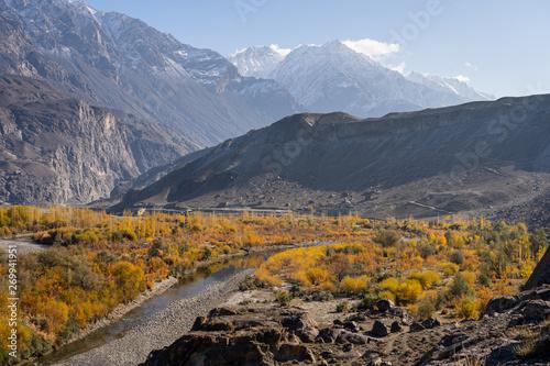 Foto auf Gartenposter Hugel Autumn in Ghizer valley, Hindu Gush mountain range, Pakistan