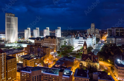 Fényképezés  Aerial view of Albany, New York downtown at dusk