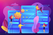 Tiny people data center engineers and administrator working with servers. Data center, centralized computer system, remote data storage concept. Bright vibrant violet vector isolated illustration