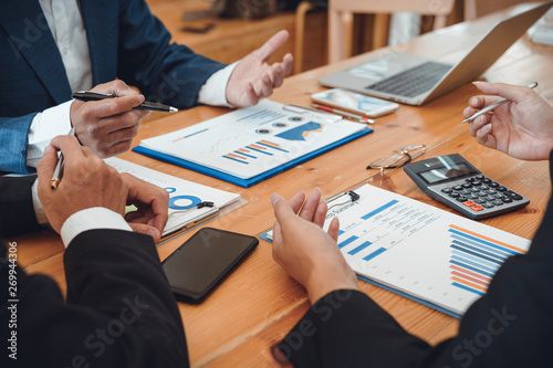 Fototapeta Business people meeting, Co investment discussion ideas concept. Board of directors planning project, considering business offer, sharing ideas for Business report obraz