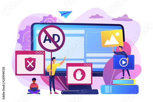 Fototapeta Programmer developing anti virus program. Banned Internet content. Ad blocking software, removing online advertising, ad filtering tools concept. Bright vibrant violet vector isolated illustration obraz