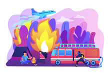 Firefighting Emergency Service. Fireman With Hose Character. Prevention Of Wildfire, Forest And Grass Fire, Conflagration Safety Engineering Concept. Bright Vibrant Violet Vector Isolated Illustration