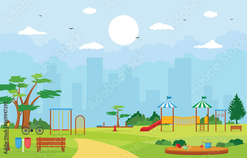 Spoed Fotobehang Lichtblauw City Park in Summer with Kid Playground Playing Equipment Illustration