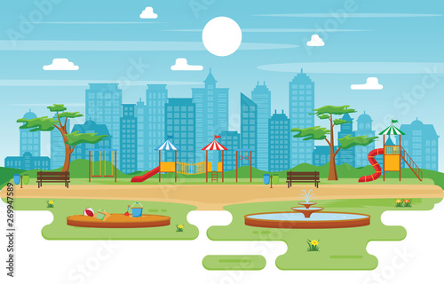 Photo Stands Kids City Park in Summer with Kid Playground Playing Equipment Illustration
