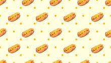 Seamless Hot Dog Pattern. 3d R...