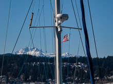 Boat Mast With American Flag A...
