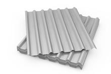 Stack Of Steel Metal Zinc Galvanized Wave Sheets For Roof. 3d Rendering