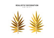set of golden palm branches in 3d, metallic illustration design isolated on white background. branch gold leaves . Vector graphics