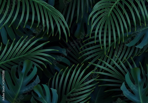 Obraz Branch palm realistic. Leaves and branches of palm trees. Tropical leaf background. Green foliage, tropic leaves pattern. vector illustration - fototapety do salonu