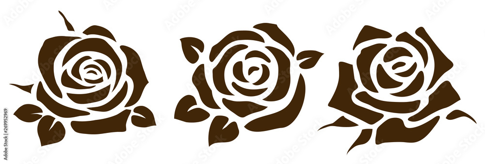 Fototapeta Vector rose icon. Set of decorative flower silhouettes for your design