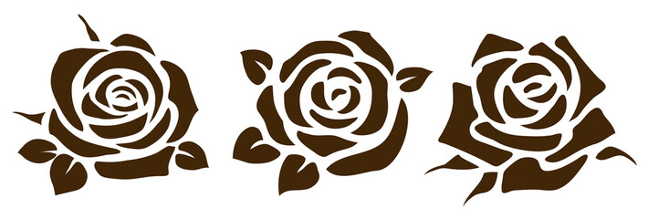 Naklejka Do salonu Vector rose icon. Set of decorative flower silhouettes for your design