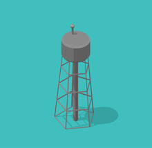 Water Tower. Single Common Watertower Building Architecture. Vector Isometric Illustration.