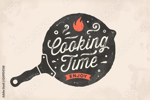 Fotografie, Obraz Cooking Time. Kitchen poster. Kitchen Wall Decor, Sign, Quote